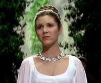Princess Leia at the awards ceremony at the end of the film.