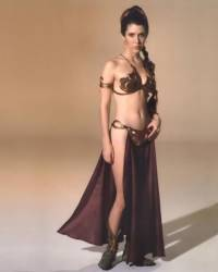 Princess Leia in her metal bikini as she appeared as a slave girl for Jabba