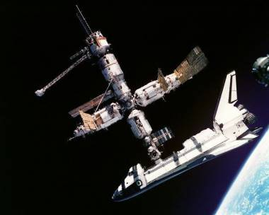 Space Shuttle Docking with Mir