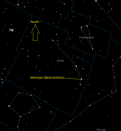 Sheratan (Beta Arietis) Location in Aries