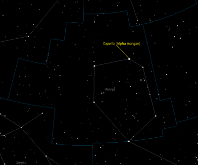 Capella (Alpha Aurigae) Location in Auriga