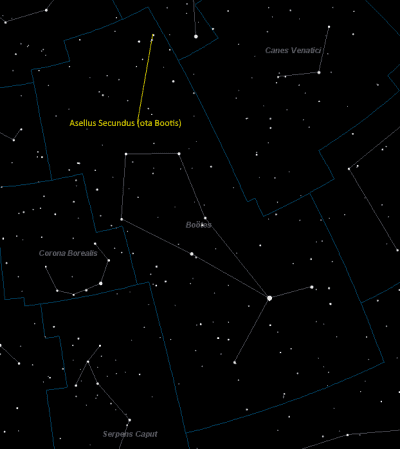Asellus Secundus Location in Bootes