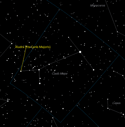 Aludra Location in Canis Major