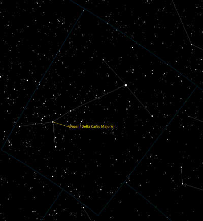 Wezen (Delta Canis Majoris) Location in Canis Major
