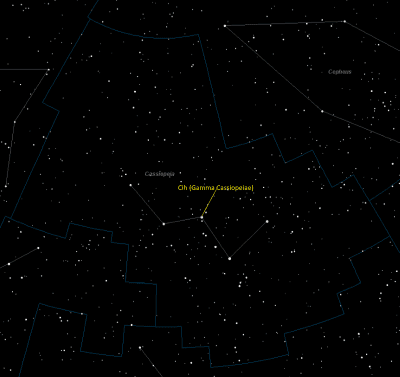 Cih (Gamma Cassiopeiae) Location in Cassiopeia