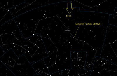 Muhlifain (Gamma Centauri) Location in Centaurus