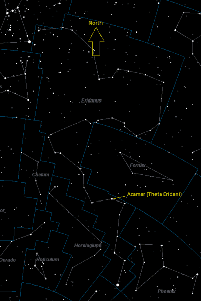 Achernar (Theta Eridani) Location in Eridanus