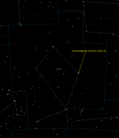 Zubenelgenubi (Alpha Librae B) Location in Libra