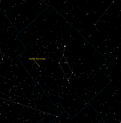 Aladfar (Eta Lyrae) Location in Lyra