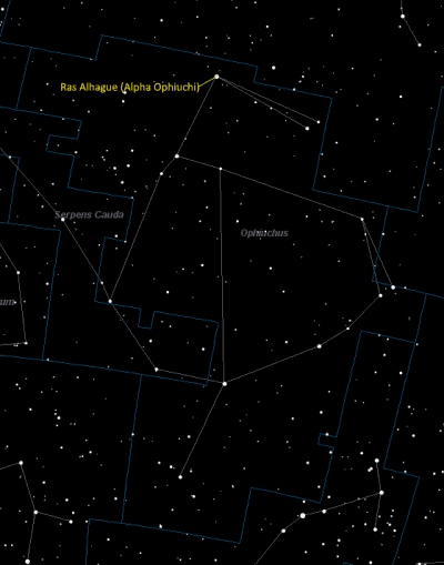 Rasalhague (Alpha Ophiuchi) Location in Ophiuchus