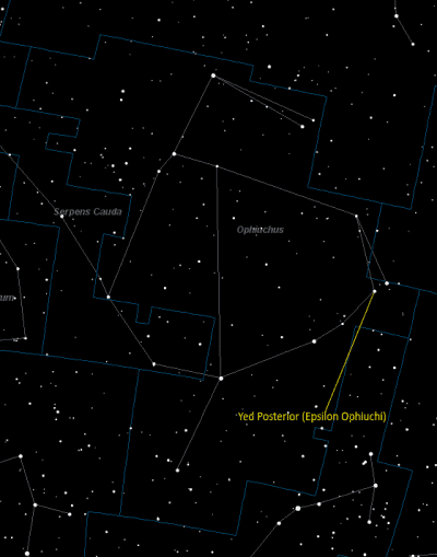 Yed Posterior (Epsilon Ophiuchi) Location in Ophiuchus
