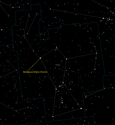 Betelgeuse (Alpha Orionis) Location in Orion