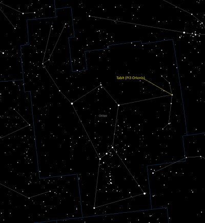 Tabit (Pi3 Orionis) Location in Orion