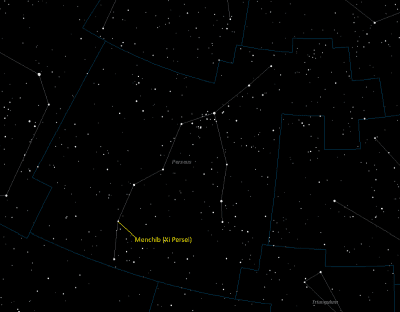 Menkib (Xi Persei) Location in Perseus