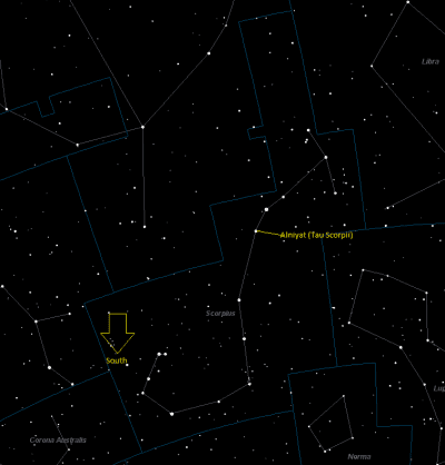 Alniyat (Sigma Scorpii) Location in Scorpius
