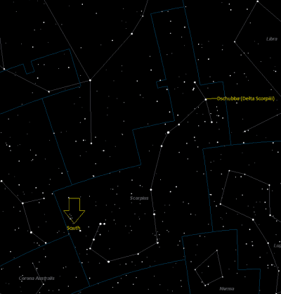 Dschubba (Delta Scorpii) Location in Scorpius
