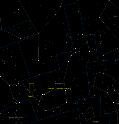 Lesath (Upsilon Scorpii) Location in Scorpius