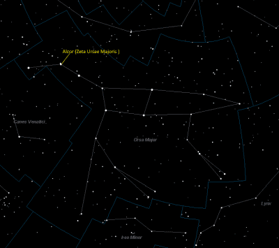 Alcor Location in Ursa Major