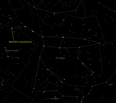 Alkaid (Eta Ursae Majoris) Location in Ursa Major