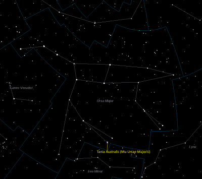 Tania Australis (Mu Ursae Majoris) Location in Ursa Major