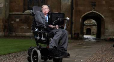Stephen Hawkings in the grounds of Cambridge University