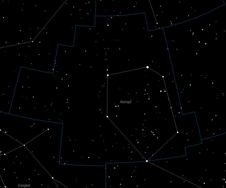 Auriga Constellation Star Map