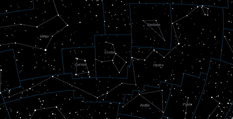 constellation near hydra vela and pyxis