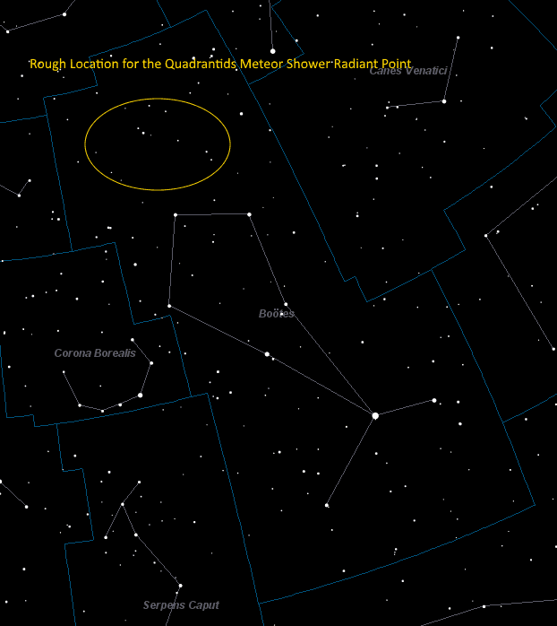 Map showing the location of where the Quadrantids radiate from within Bootes