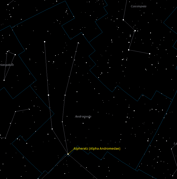 Alpheratz (Alpha Andromedae) Location in Andromeda
