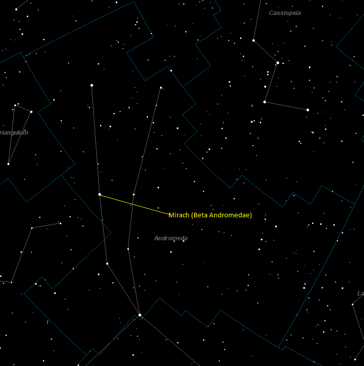 Mirach (Beta Andromedae) Location in Andromeda