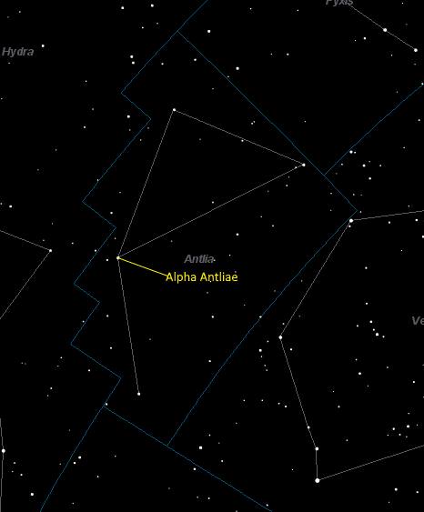 Alpha Antliae (Alpha Antliae) Location in Antlia