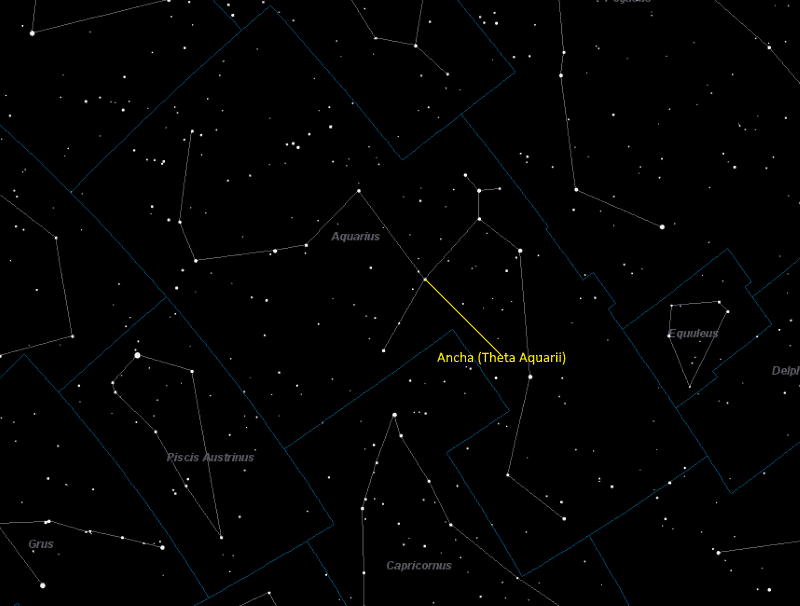 Ancha (Theta Aquarii) Location in Aquarius