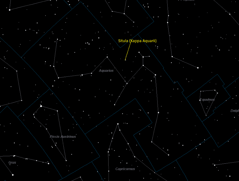 Situla (Kappa Aquarii) Location in Aquarius