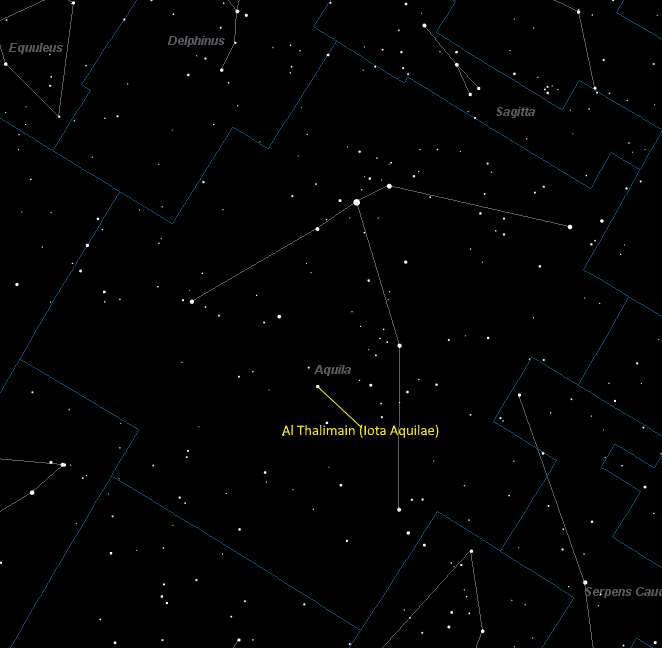 Al Thalimain (Iota Aquilae) Location in Aquila
