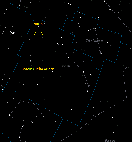 Botein (Delta Arietis) Location in Aries