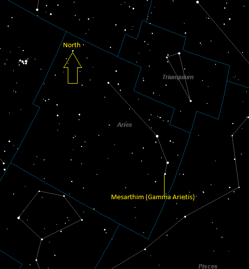 Mesarthim (Gamma Arietis) Location in Aries