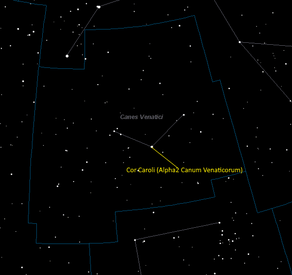 Cor Caroli (Alpha2 Canum Venaticorum) Location in Canes Venatici