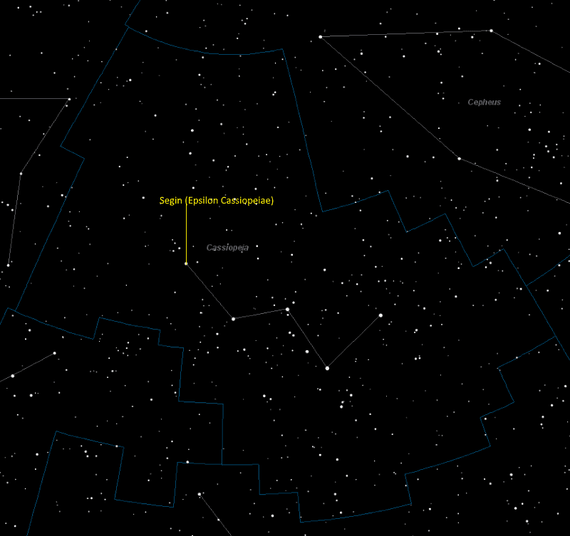 Segin (Epsilon Cassiopeiae) Location in Cassiopeia