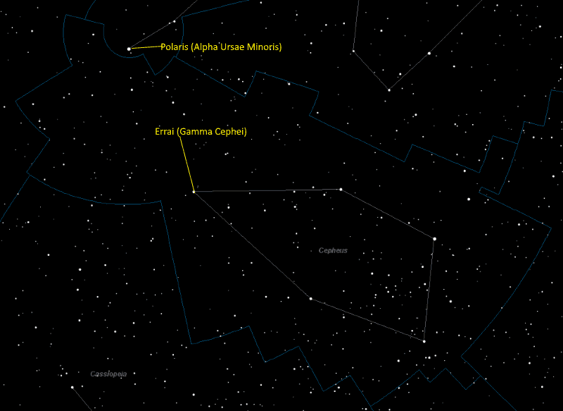Errai (Gamma Cephei) Location in Cepheus