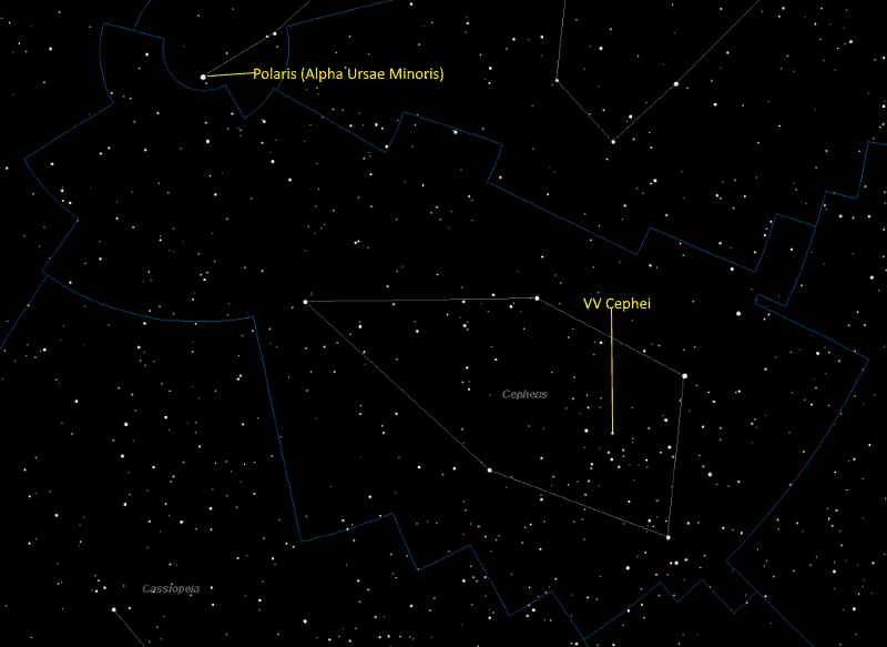 VV Cephei Location in Cepheus