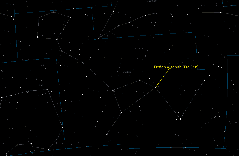 Deneb Algenub (Eta Ceti) Location in Cetus