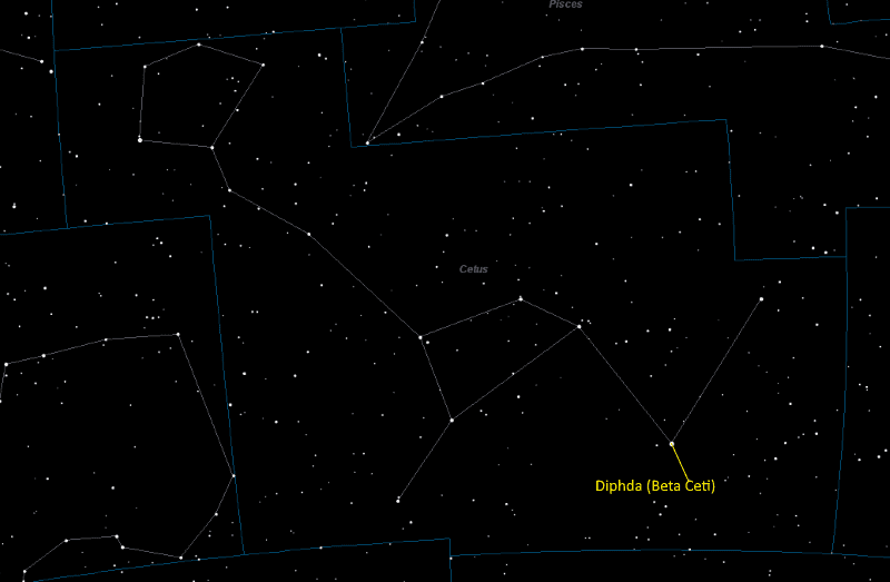 Diphda (Beta Ceti) Location in Cetus