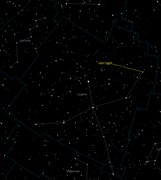 Iota Cygni Location in Cygnus