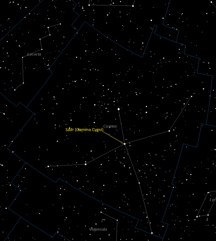 Sadr (Gamma Cygni) Location in Cygnus