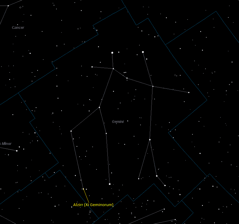 Alzirr (Xi Geminorum) Location in Gemini