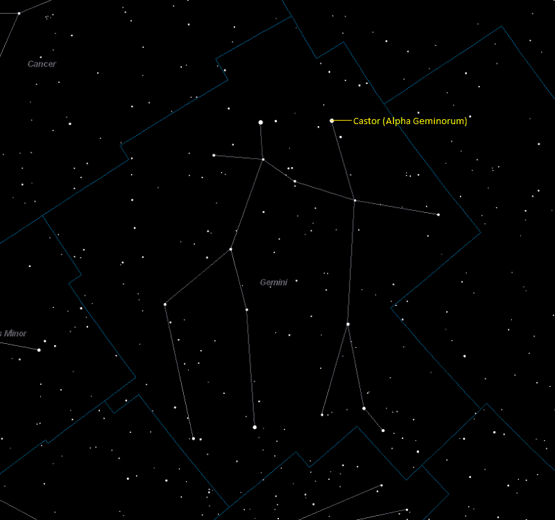 Castor (Alpha Geminorum) Location in Gemini