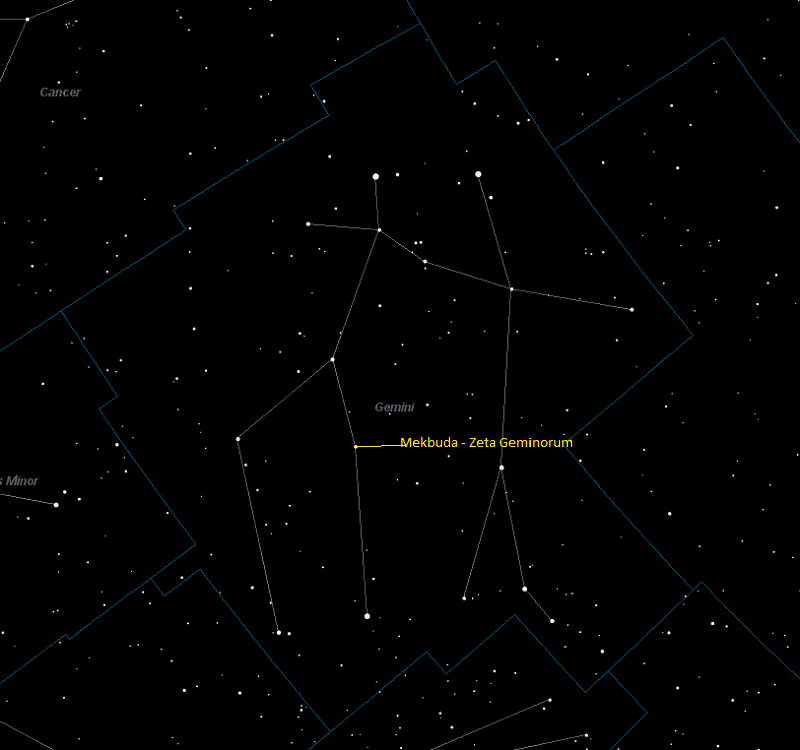 Mekbuda (Zeta Geminorum) Location in Gemini