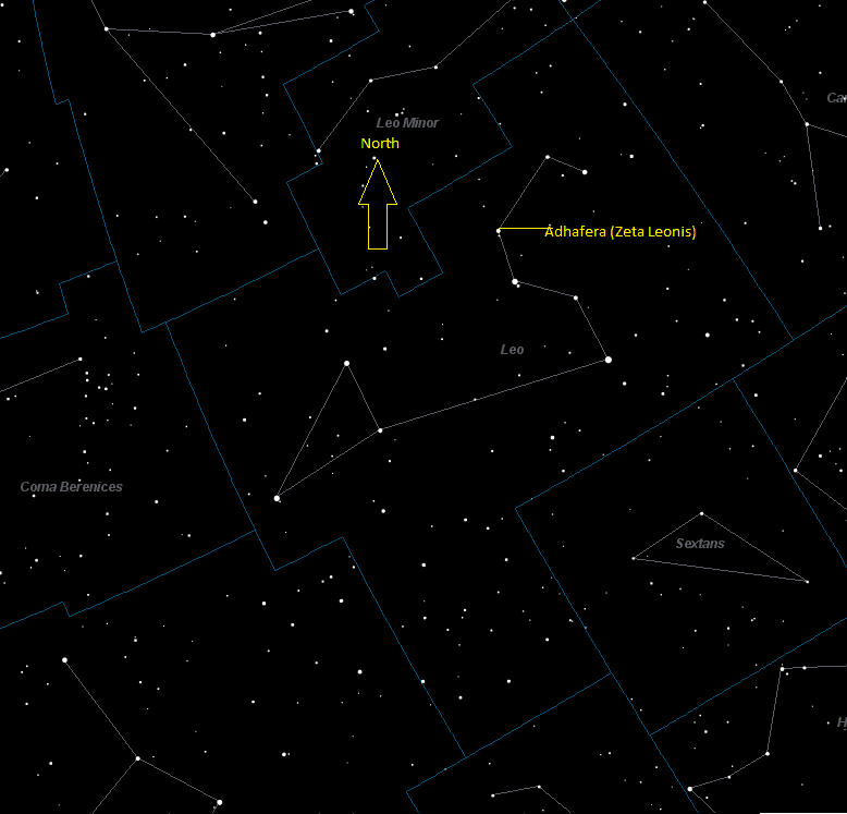 Adhafera (Zeta Leonis) Location in Leo