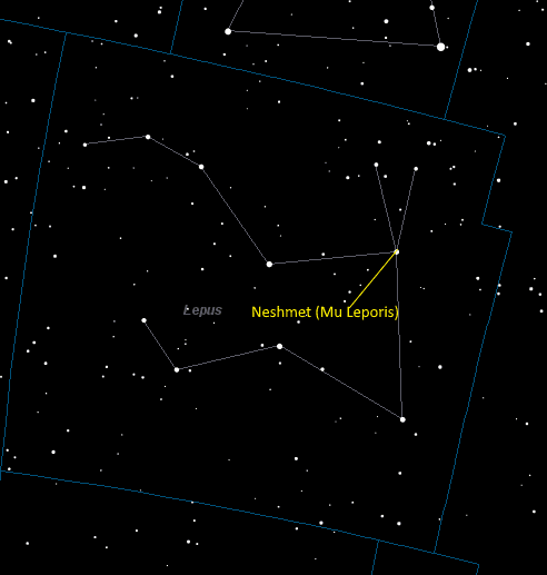 Neshmet (Mu Leporis) Location in Lepus