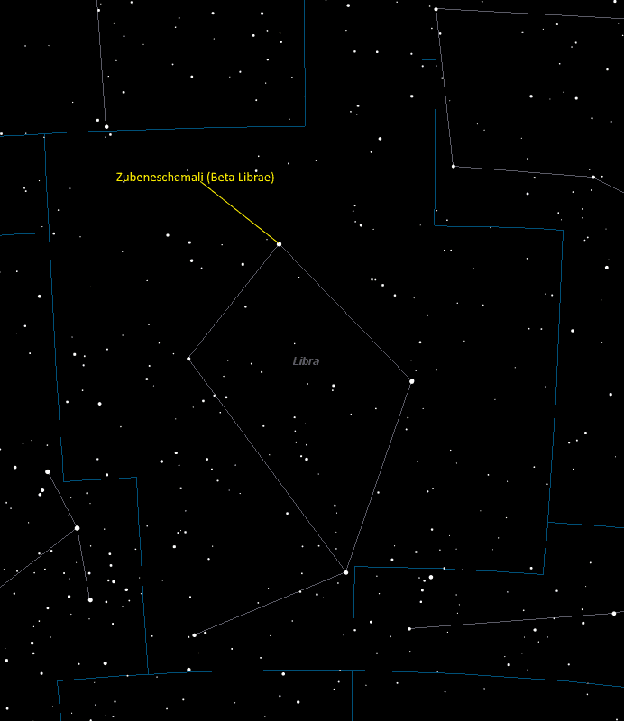 Zubeneschamali (Beta Librae) Location in Libra